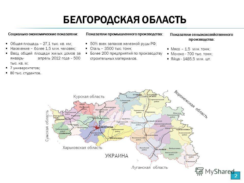 Показатели промышленного производства: 50% всех запасов железной руды РФ; Сталь – 3500 тыс. тонн; Более 200 предприятий по производству строительных материалов. Социально-экономические показатели: Общая площадь – 27,1 тыс. кв. км; Население – более 1