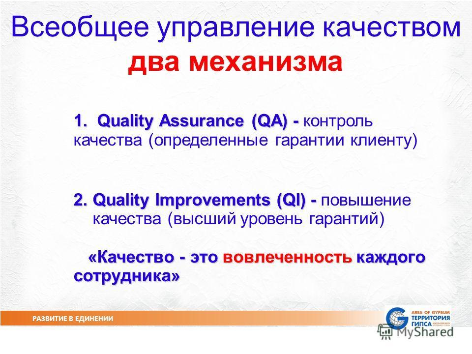РАЗВИТИЕ В ЕДИНЕНИИ СЛАЙД 3 Всеобщее управление качеством два механизма 1. Quality Assurance (QA) - 1. Quality Assurance (QA) - контроль качества (определенные гарантии клиенту) 2. Quality Improvements (QI) - 2. Quality Improvements (QI) - повышение