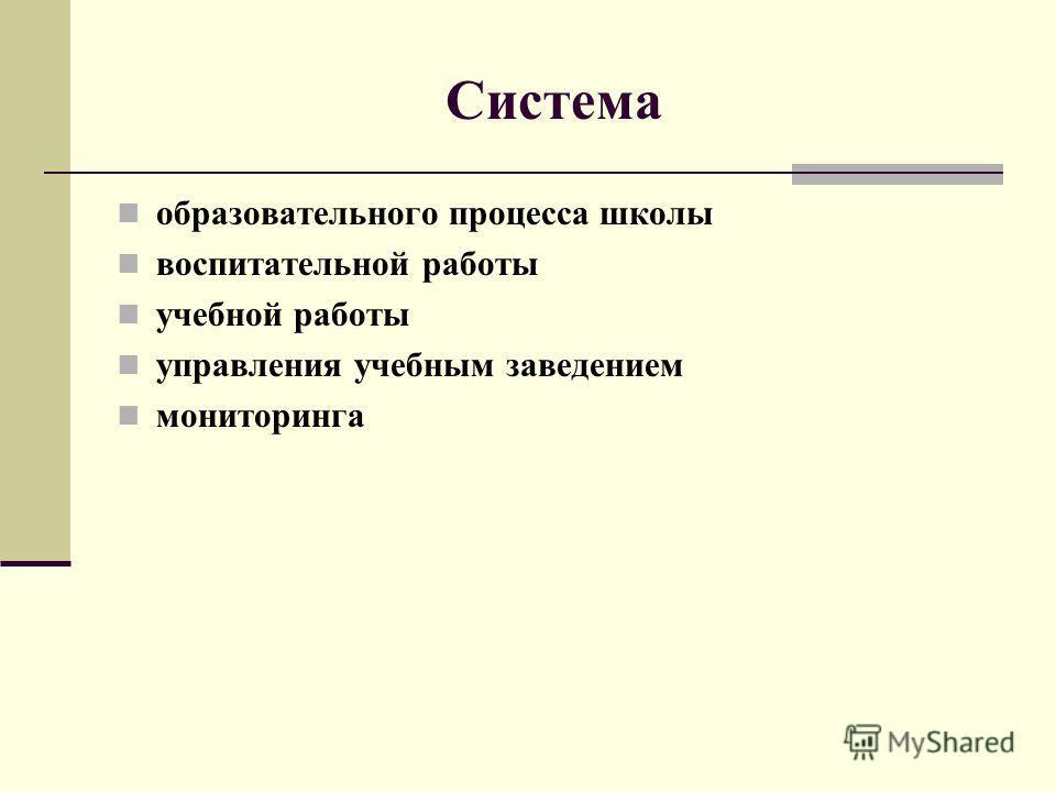 Система образовательного процесса школы воспитательной работы учебной работы управления учебным заведением мониторинга