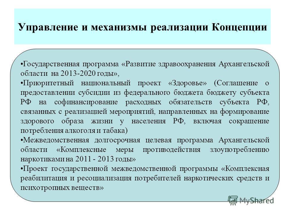 Управление и механизмы реализации Концепции Государственная программа «Развитие здравоохранения Архангельской области на 2013-2020 годы», Приоритетный национальный проект «Здоровье» (Соглашение о предоставлении субсидии из федерального бюджета бюджет