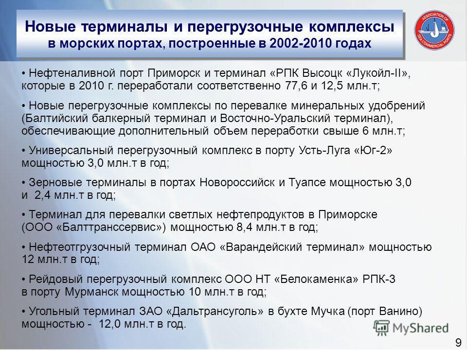 Новые терминалы и перегрузочные комплексы в морских портах, построенные в 2002-2010 годах Нефтеналивной порт Приморск и терминал «РПК Высоцк «Лукойл-II», которые в 2010 г. переработали соответственно 77,6 и 12,5 млн.т; Новые перегрузочные комплексы п