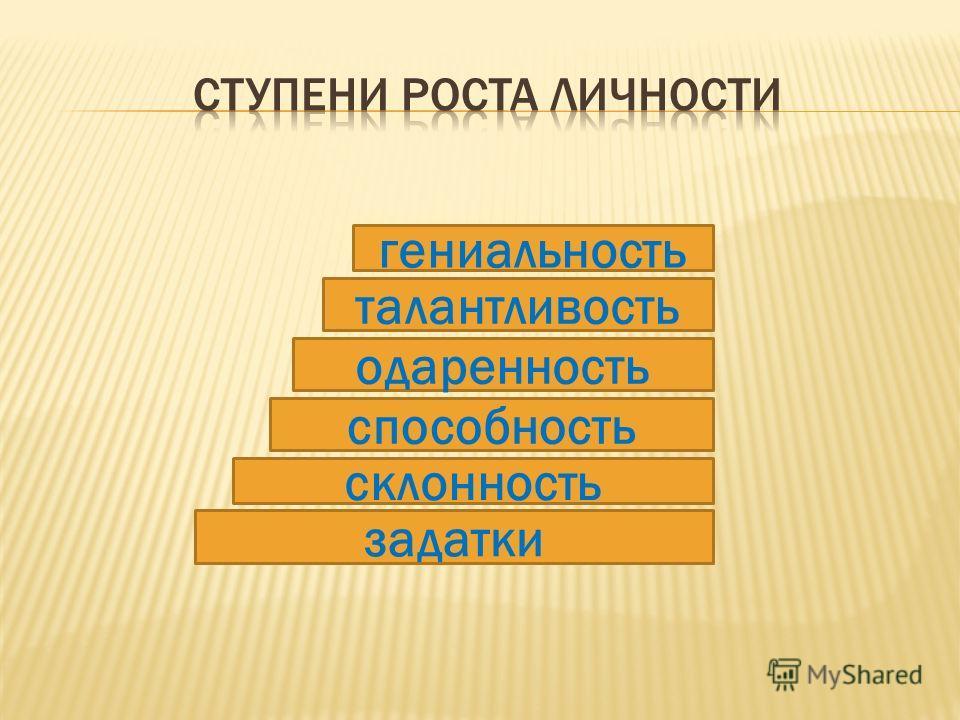 задатки склонность способность одаренность талантливость гениальность