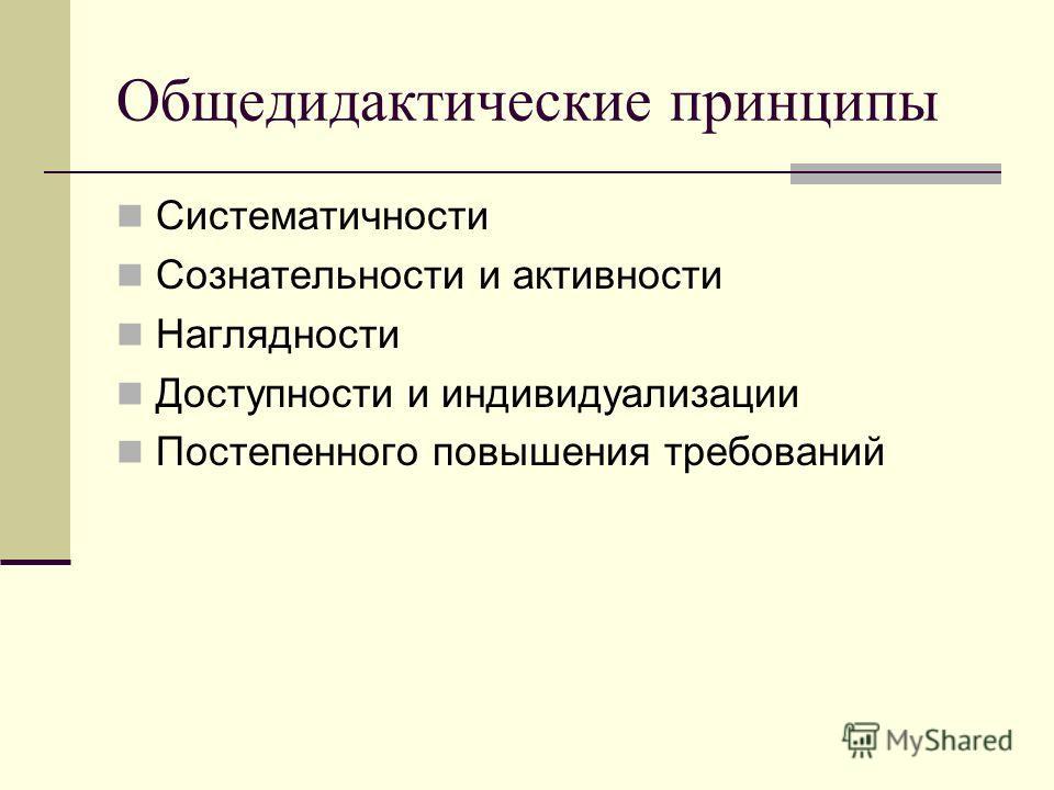 Общедидактические принципы Систематичности Сознательности и активности Наглядности Доступности и индивидуализации Постепенного повышения требований