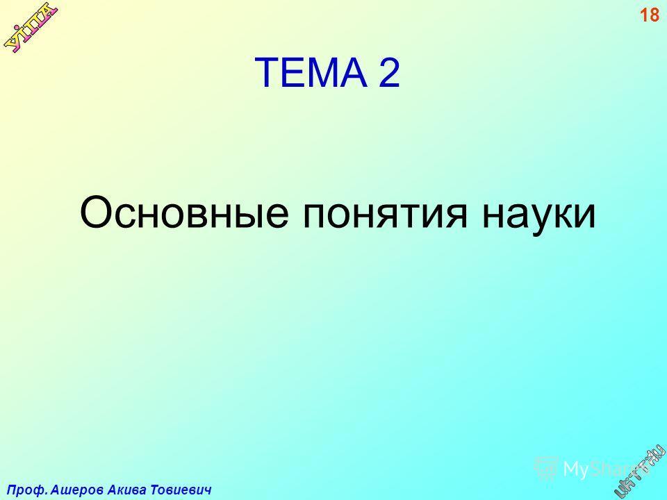 Проф. Ашеров Акива Товиевич 18 ТЕМА 2 Основные понятия науки
