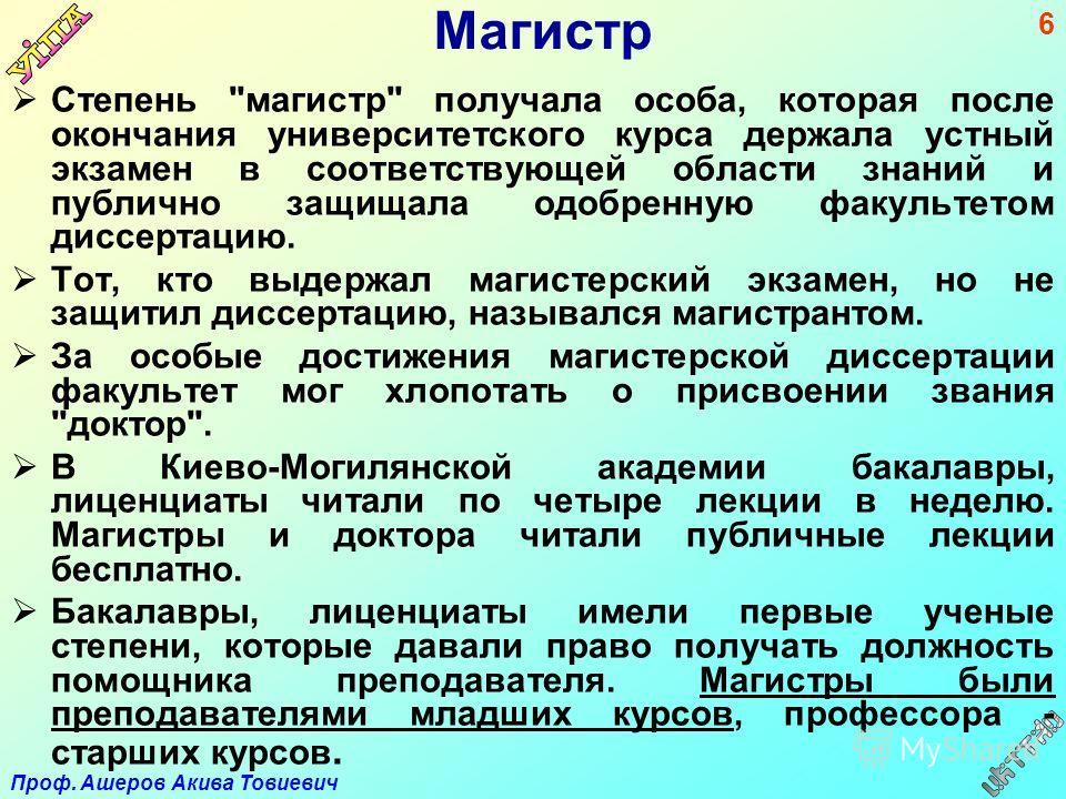Проф. Ашеров Акива Товиевич 6 Магистр Степень