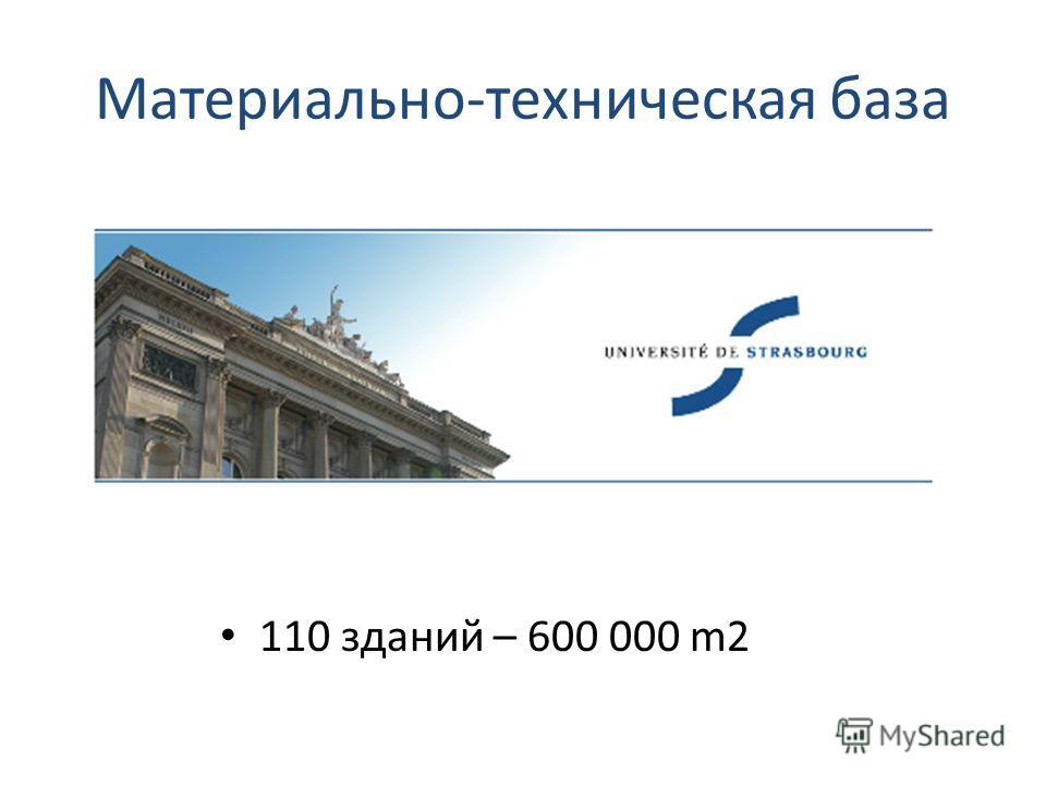Материально-техническая база 110 зданий – 600 000 m2