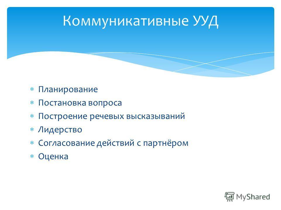 Планирование Постановка вопроса Построение речевых высказываний Лидерство Согласование действий с партнёром Оценка Коммуникативные УУД