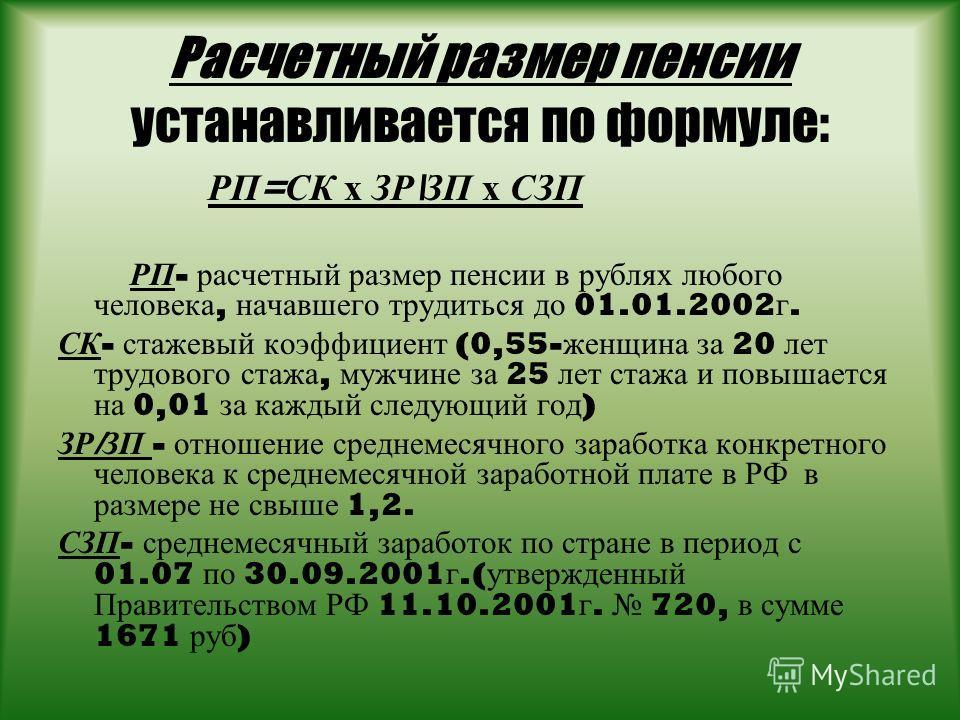 Расчетный размер пенсии устанавливается по формуле: РП = СК х ЗР \ ЗП х СЗП РП - расчетный размер пенсии в рублях любого человека, начавшего трудиться до 01.01.2002 г. СК - стажевый коэффициент (0,55- женщина за 20 лет трудового стажа, мужчине за 25