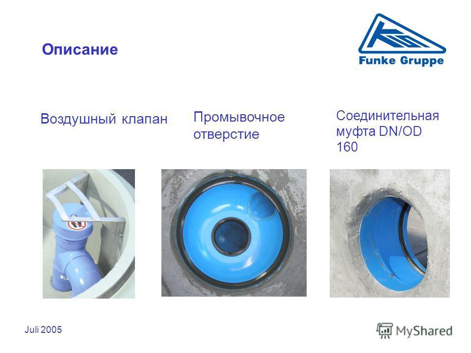 Juli 2005 Описание Воздушный клапан Промывочное отверстие Соединительная муфта DN/OD 160