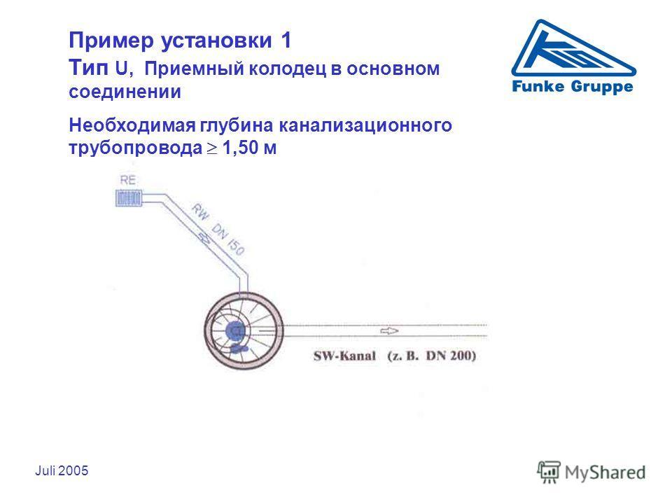 Juli 2005 Пример установки 1 Тип U, Приемный колодец в основном соединении Необходимая глубина канализационного трубопровода 1,50 м