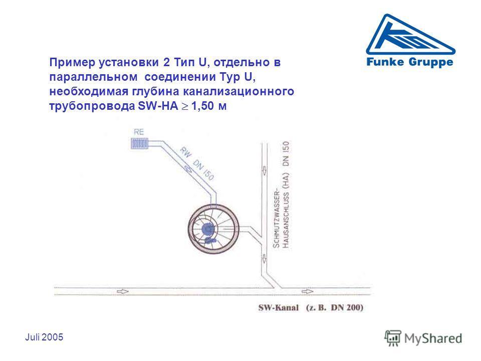 Juli 2005 Пример установки 2 Тип U, отдельно в параллельном соединении Тyp U, необходимая глубина канализационного трубопровода SW-HA 1,50 м