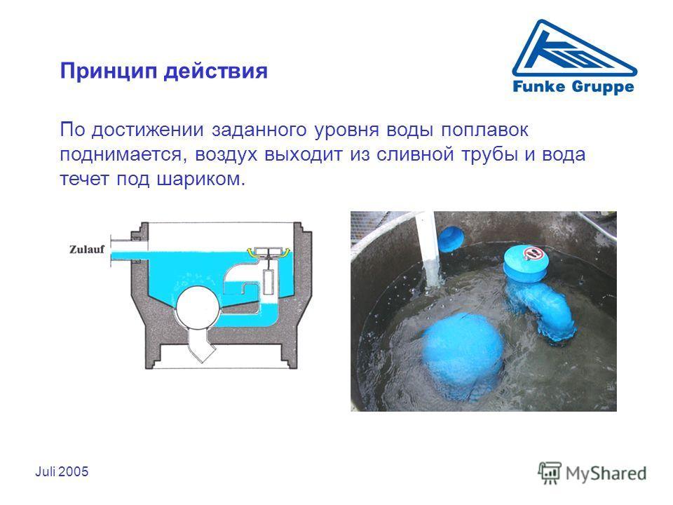 Juli 2005 Принцип действия По достижении заданного уровня воды поплавок поднимается, воздух выходит из сливной трубы и вода течет под шариком.