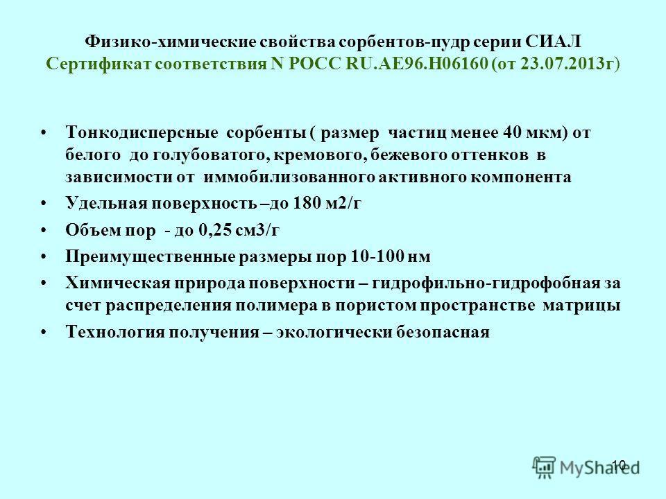 Физико-химические свойства сорбентов-пудр серии СИАЛ Сертификат соответствия N РОСС RU.АЕ96.Н06160 (от 23.07.2013г) Тонкодисперсные сорбенты ( размер частиц менее 40 мкм) от белого до голубоватого, кремового, бежевого оттенков в зависимости от иммоби