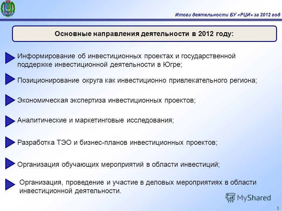 3 Основные направления деятельности в 2012 году: Организация обучающих мероприятий в области инвестиций; Информирование об инвестиционных проектах и государственной поддержке инвестиционной деятельности в Югре; Экономическая экспертиза инвестиционных