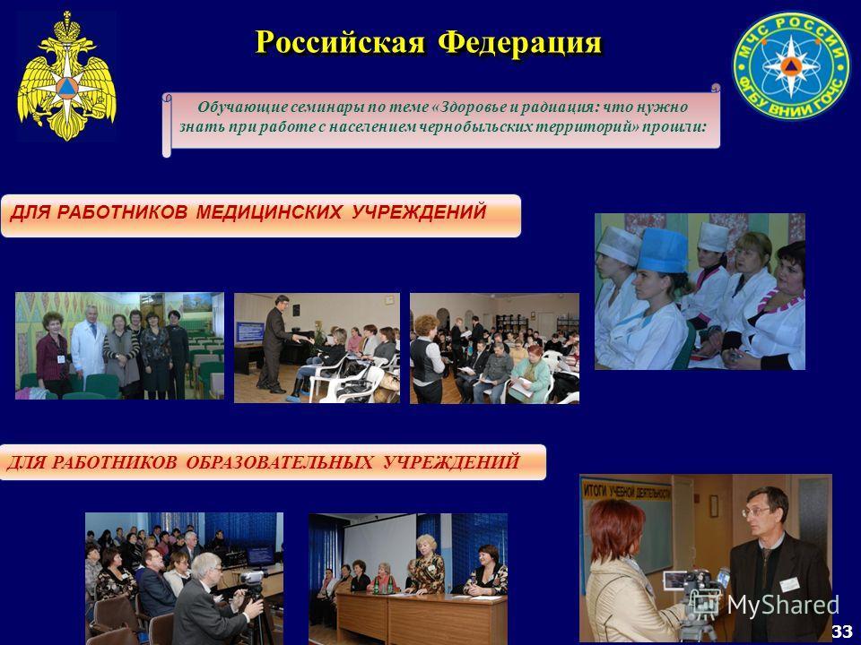 33 Российская Федерация Обучающие семинары по теме «Здоровье и радиация: что нужно знать при работе с населением чернобыльских территорий» прошли: ДЛЯ РАБОТНИКОВ МЕДИЦИНСКИХ УЧРЕЖДЕНИЙ ДЛЯ РАБОТНИКОВ ОБРАЗОВАТЕЛЬНЫХ УЧРЕЖДЕНИЙ