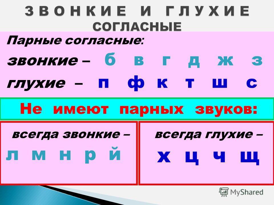 Парные согласные : звонкие – б в г д ж з глухие – п ф к т ш с Не имеют парных звуков: всегда звонкие – л м н р й всегда глухие – х ц ч щ