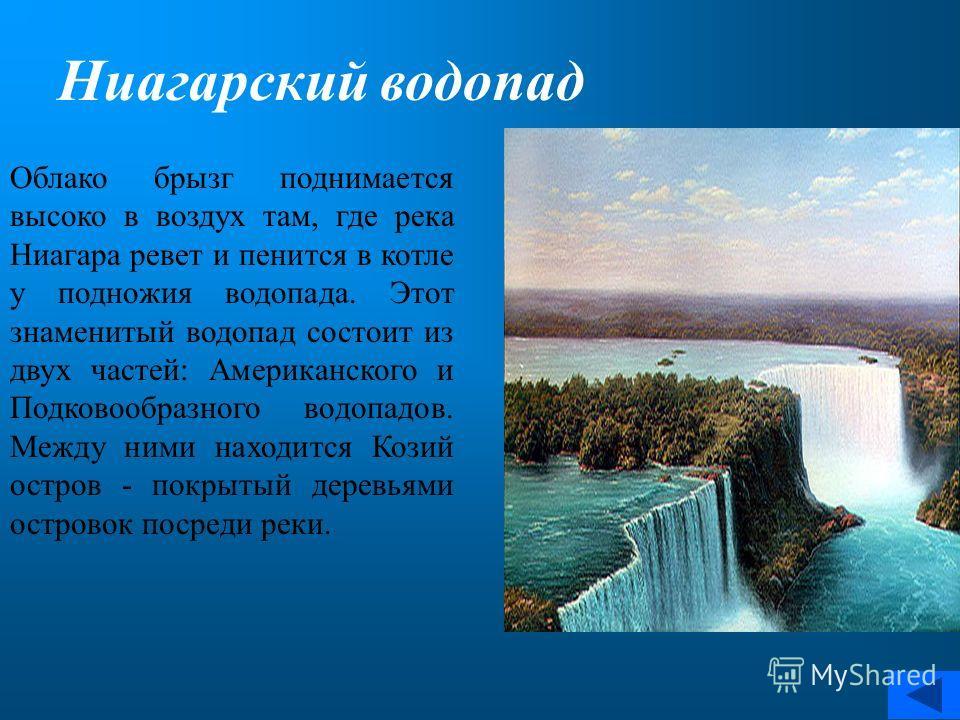 Облако брызг поднимается высоко в воздух там, где река Ниагара ревет и пенится в котле у подножия водопада. Этот знаменитый водопад состоит из двух частей: Американского и Подковообразного водопадов. Между ними находится Козий остров - покрытый дерев