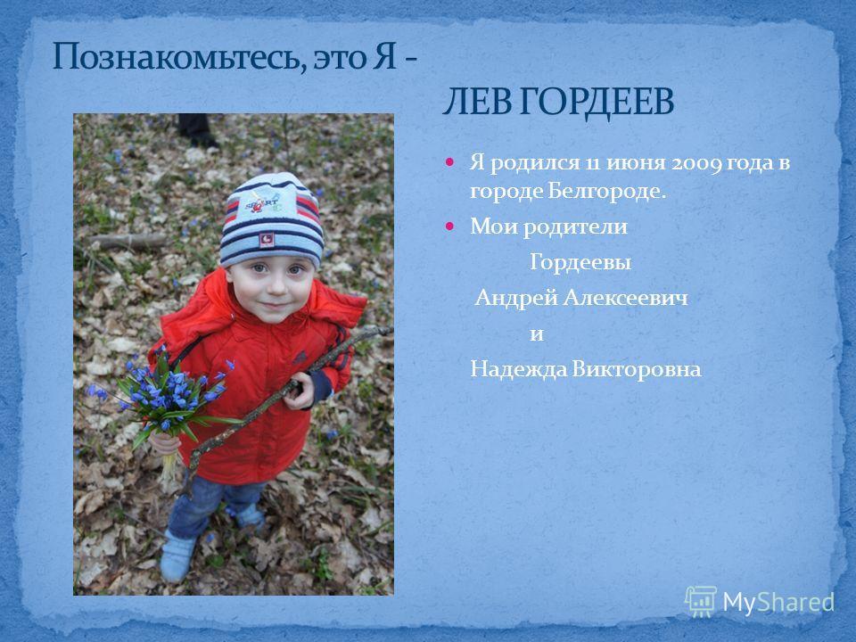 Я родился 11 июня 2009 года в городе Белгороде. Мои родители Гордеевы Андрей Алексеевич и Надежда Викторовна