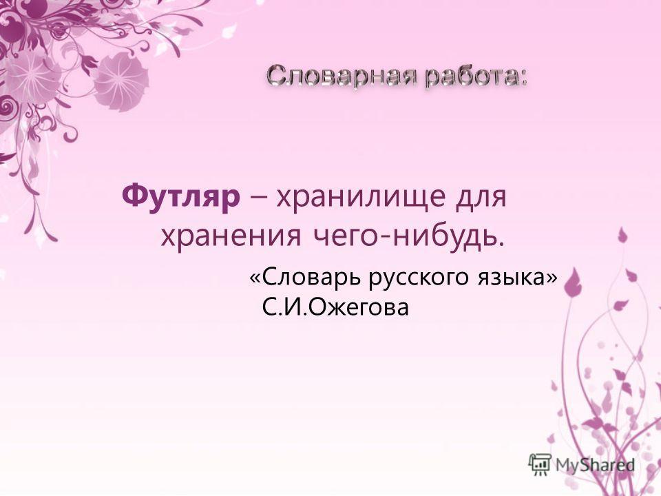 Футляр – хранилище для хранения чего-нибудь. «Словарь русского языка» С.И.Ожегова