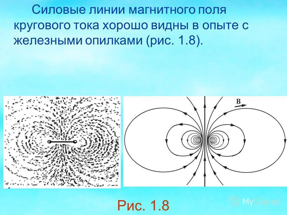 Силовые линии магнитного поля кругового тока хорошо видны в опыте с железными опилками (рис. 1.8). Рис. 1.8