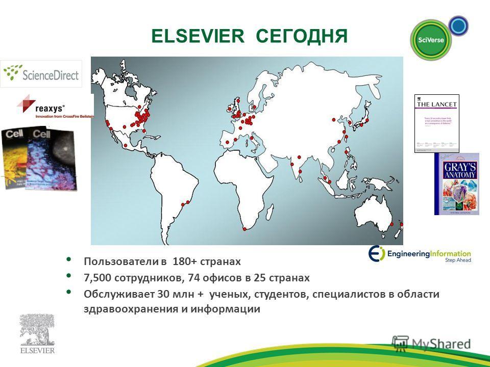 ELSEVIER СЕГОДНЯ Пользователи в 180+ странах 7,500 сотрудников, 74 офисов в 25 странах Обслуживает 30 млн + ученых, студентов, специалистов в области здравоохранения и информации