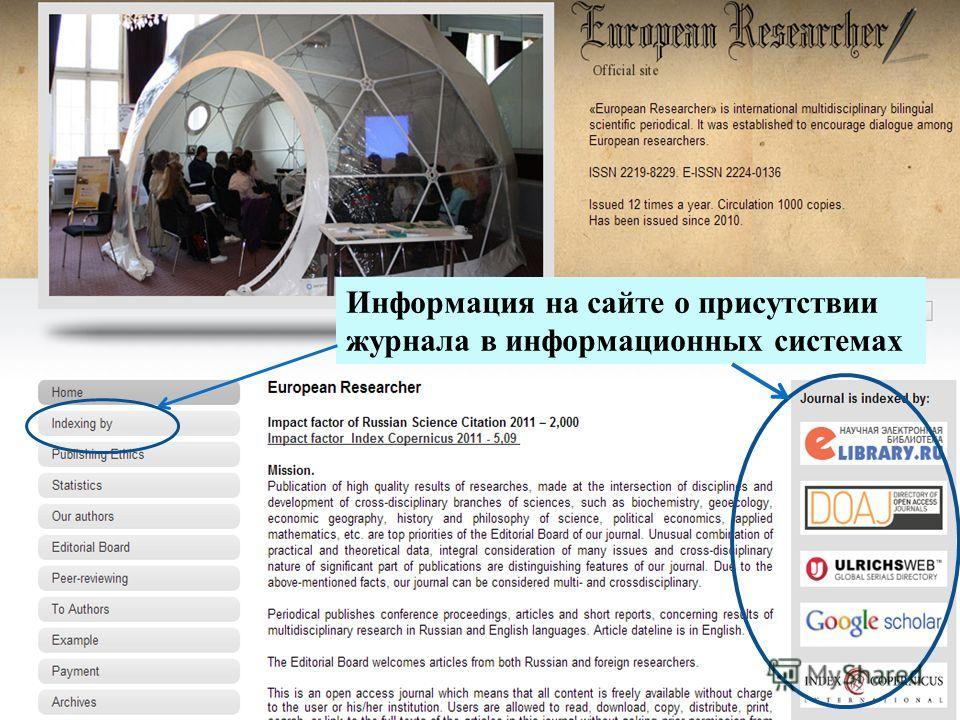 Информация на сайте о присутствии журнала в информационных системах