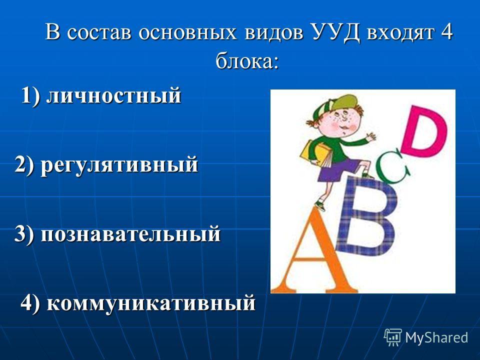 В состав основных видов УУД входят 4 блока: В состав основных видов УУД входят 4 блока: 1) личностный 1) личностный 2) регулятивный 3) познавательный 4) коммуникативный 4) коммуникативный