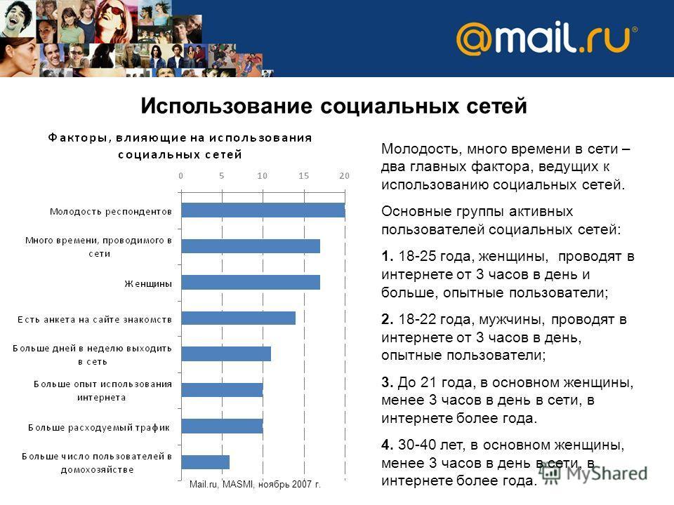 Использование социальных сетей Mail.ru, MASMI, ноябрь 2007 г. Молодость, много времени в сети – два главных фактора, ведущих к использованию социальных сетей. Основные группы активных пользователей социальных сетей: 1. 18-25 года, женщины, проводят в