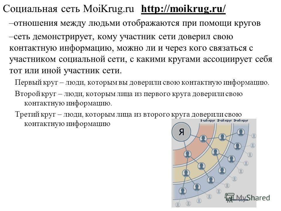 Социальная сеть MoiKrug.ru http://moikrug.ru/ –отношения между людьми отображаются при помощи кругов –сеть демонстрирует, кому участник сети доверил свою контактную информацию, можно ли и через кого связаться с участником социальной сети, с какими кр