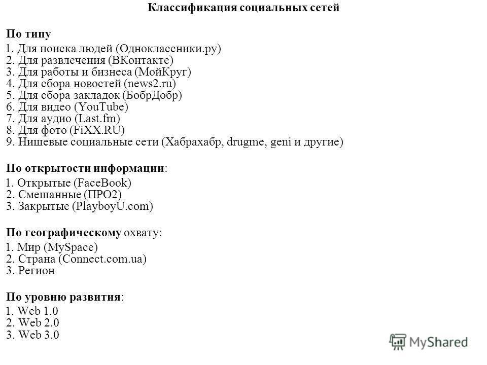 Классификация социальных сетей По типу 1. Для поиска людей (Одноклассники.ру) 2. Для развлечения (ВКонтакте) 3. Для работы и бизнеса (МойКруг) 4. Для сбора новостей (news2.ru) 5. Для сбора закладок (БобрДобр) 6. Для видео (YouTube) 7. Для аудио (Last