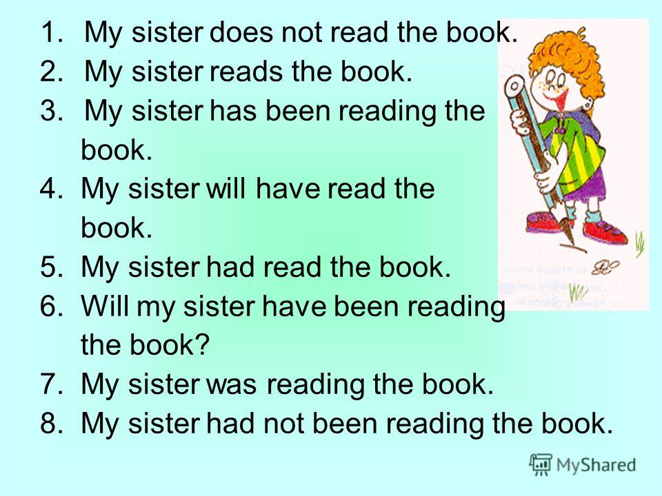 1.My sister does not read the book. 2.My sister reads the book. 3.My sister has been reading the book. 4. My sister will have read the book. 5. My sister had read the book. 6. Will my sister have been reading the book? 7. My sister was reading the bo