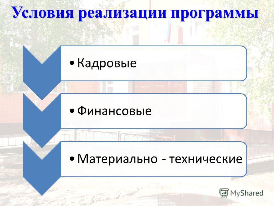 КадровыеФинансовыеМатериально - технические Условия реализации программы