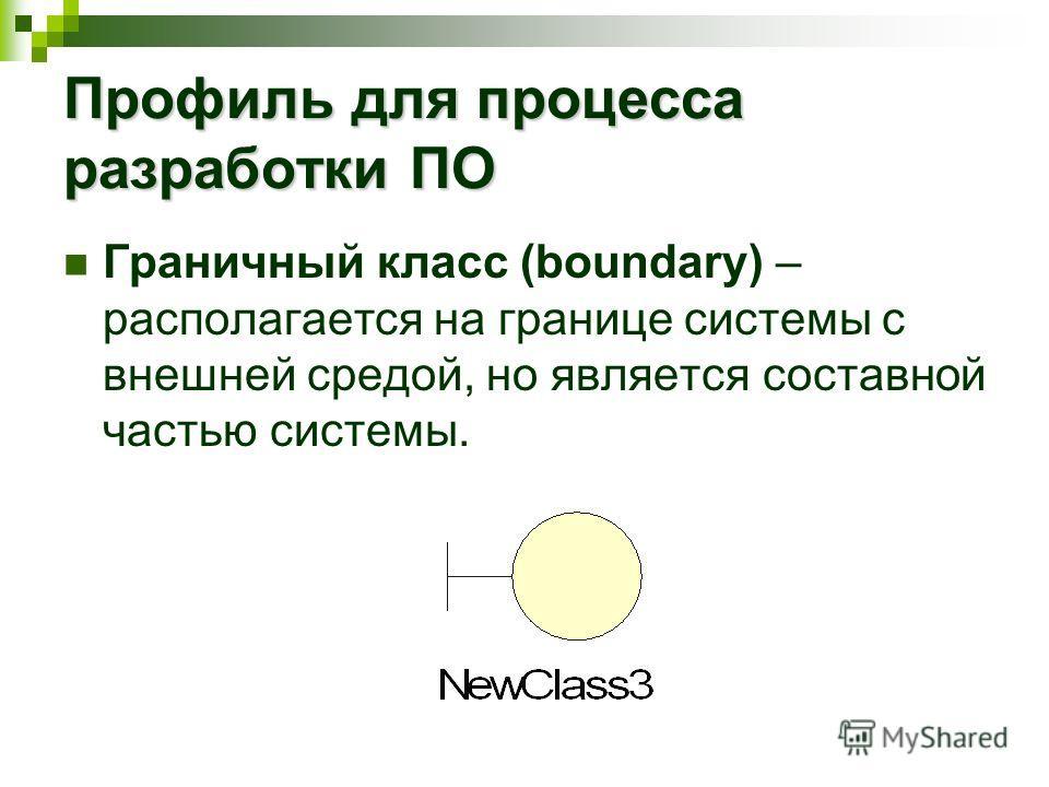 Профиль для процесса разработки ПО Граничный класс (boundary) – располагается на границе системы с внешней средой, но является составной частью системы.