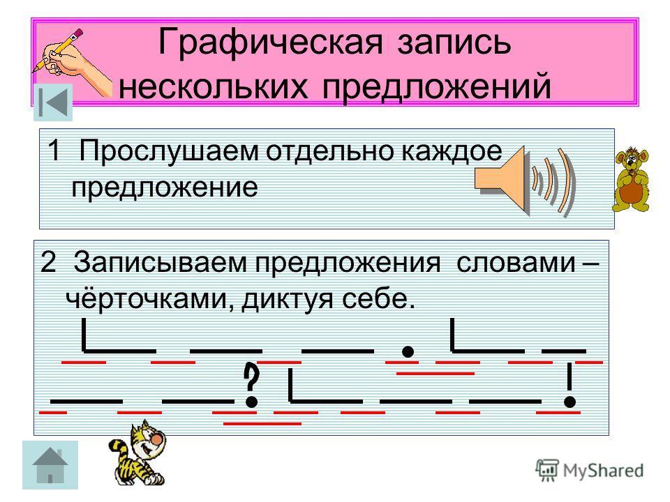 Графическая запись нескольких предложений 1 Прослушаем отдельно каждое предложение 2 Записываем предложения словами – чёрточками, диктуя себе.