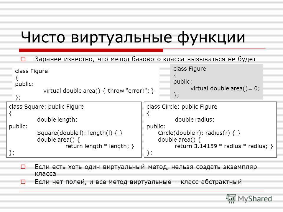 Чисто виртуальные функции Заранее известно, что метод базового класса вызываться не будет Если есть хоть один виртуальный метод, нельзя создать экземпляр класса Если нет полей, и все метод виртуальные – класс абстрактный class Figure { public: virtua