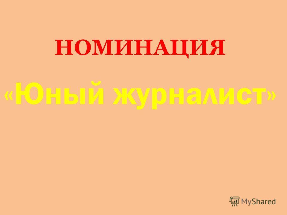 НОМИНАЦИЯ «Юный журналист»