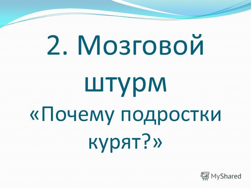 2. Мозговой штурм «Почему подростки курят?»