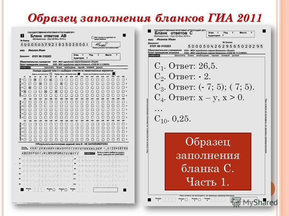 Образец заполнения бланков ГИА 2011 С 1. Ответ: 26,5. С 2. Ответ: - 2. С 3. Ответ: (- 7; 5); ( 7; 5). С 4. Ответ: х – у, х > 0. … С 10. 0,25. Образец заполнения бланка С. Часть 1.