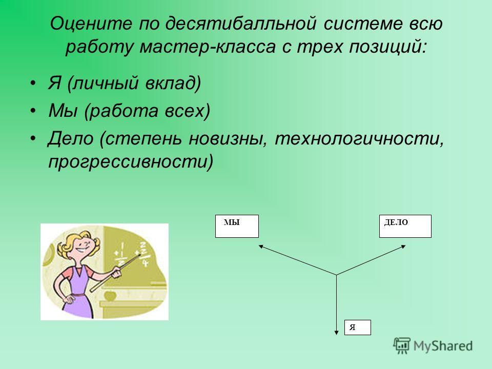 Оцените по десятибалльной системе всю работу мастер-класса с трех позиций: Я (личный вклад) Мы (работа всех) Дело (степень новизны, технологичности, прогрессивности) МЫДЕЛО Я