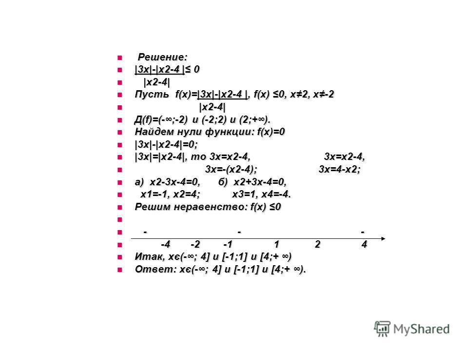 Решение: Решение: |3х|-|х2-4 | 0 |3х|-|х2-4 | 0 |х2-4| |х2-4| Пусть f(х)=|3х|-|х2-4 |, f(х) 0, х2, х-2 Пусть f(х)=|3х|-|х2-4 |, f(х) 0, х2, х-2 |х2-4| |х2-4| Д(f)=(-;-2) и (-2;2) и (2;+). Д(f)=(-;-2) и (-2;2) и (2;+). Найдем нули функции: f(х)=0 Найд