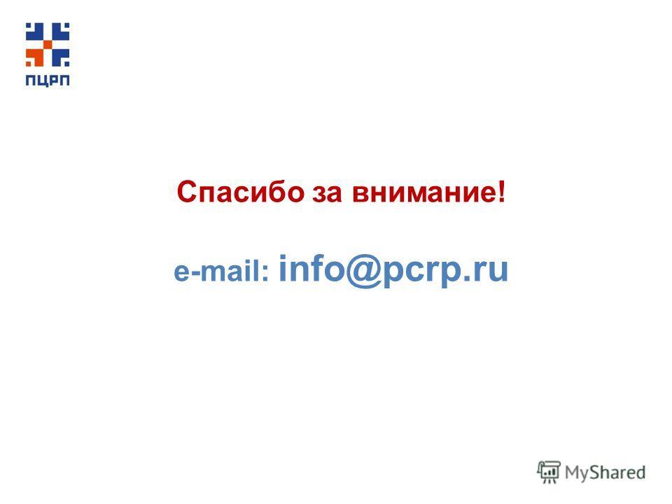Спасибо за внимание! е-mail: info@pcrp.ru