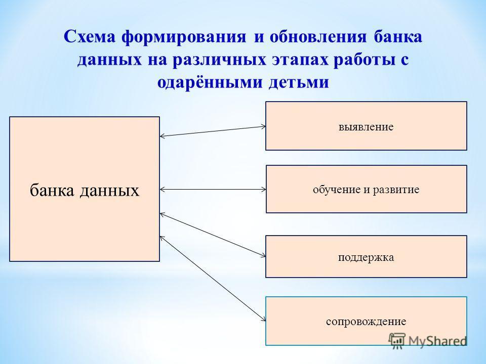 Схема формирования и обновления банка данных на различных этапах работы с одарёнными детьми банка данных поддержка сопровождение выявление обучение и развитие