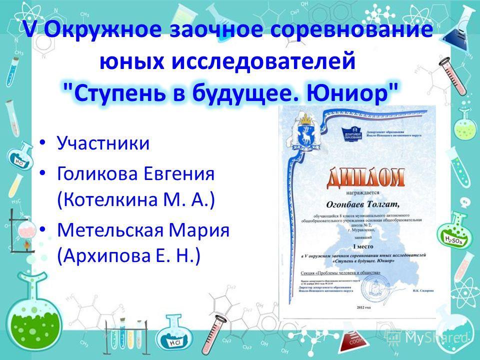 Участники Голикова Евгения (Котелкина М. А.) Метельская Мария (Архипова Е. Н.)