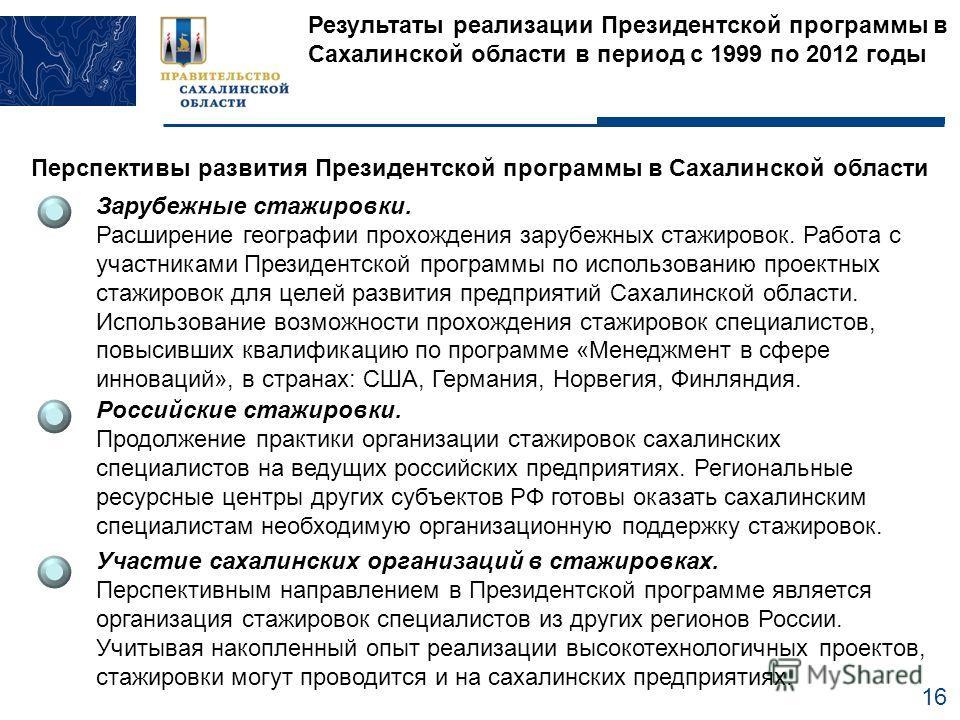 16 Результаты реализации Президентской программы в Сахалинской области в период с 1999 по 2012 годы Перспективы развития Президентской программы в Сахалинской области Зарубежные стажировки. Расширение географии прохождения зарубежных стажировок. Рабо