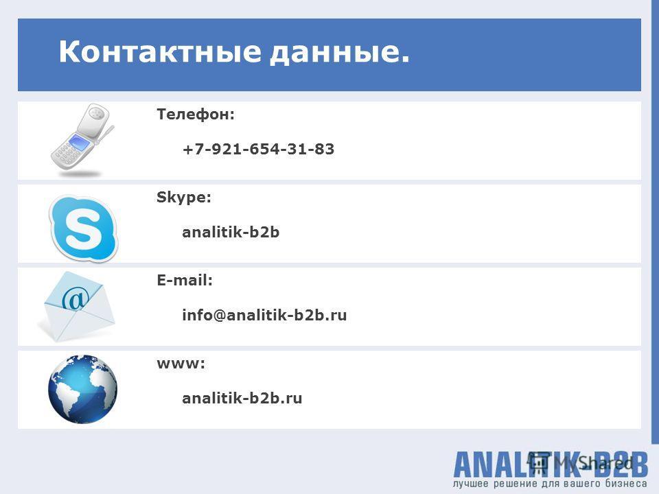 Skype: analitik-b2b Телефон: +7-921-654-31-83 Контактные данные. E-mail: info@analitik-b2b.ru www: analitik-b2b.ru