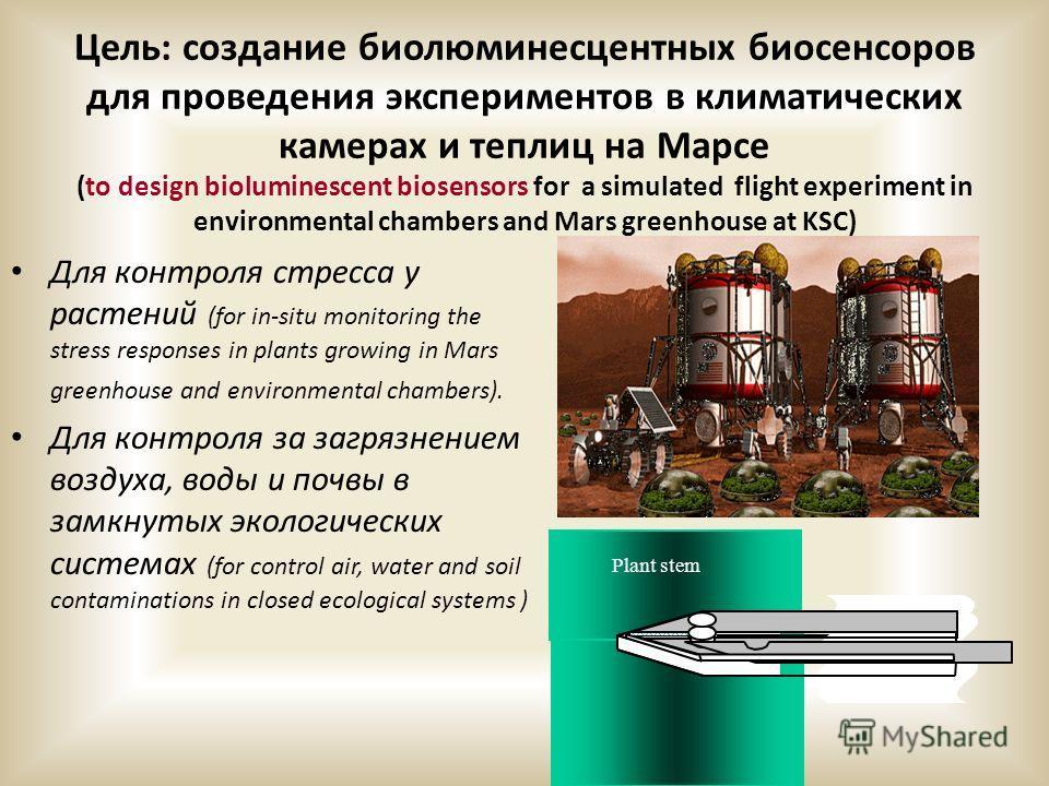 Цель: создание биолюминесцентных биосенсоров для проведения экспериментов в климатических камерах и теплиц на Марсе (to design bioluminescent biosensors for a simulated flight experiment in environmental chambers and Mars greenhouse at KSC) Для контр