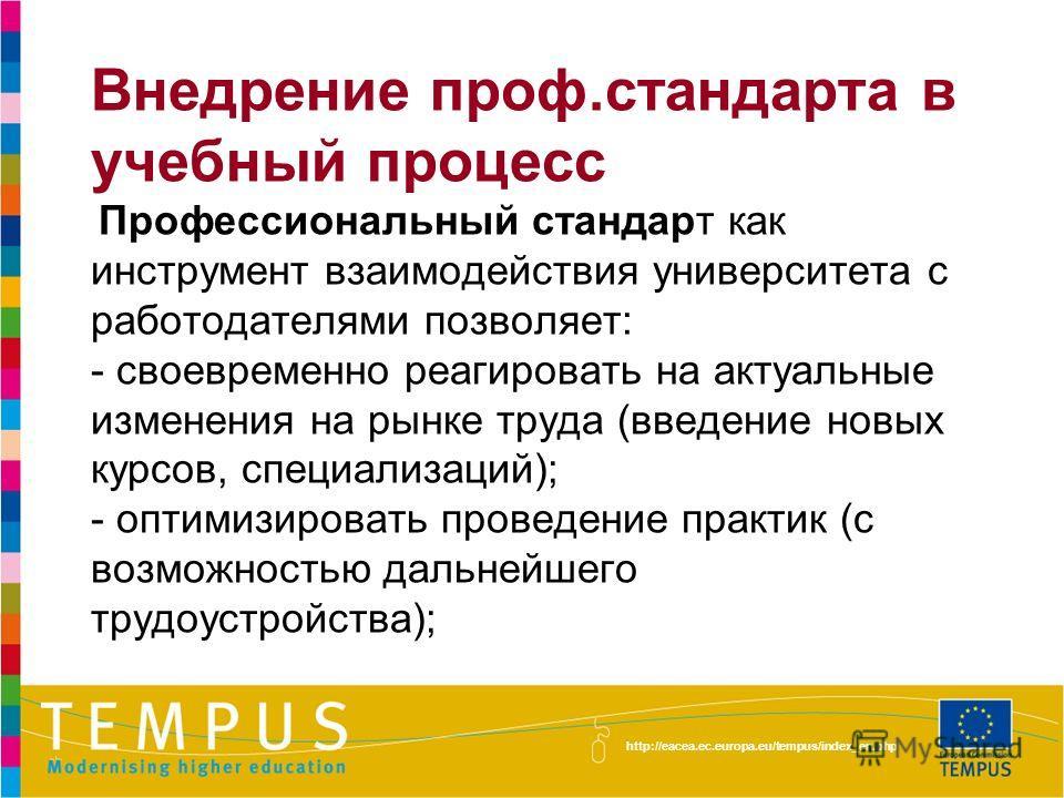 http://eacea.ec.europa.eu/tempus/index_en.php Внедрение проф.стандарта в учебный процесс Профессиональный стандарт как инструмент взаимодействия университета с работодателями позволяет: - своевременно реагировать на актуальные изменения на рынке труд
