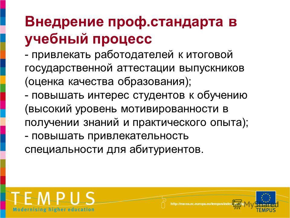 http://eacea.ec.europa.eu/tempus/index_en.php Внедрение проф.стандарта в учебный процесс - привлекать работодателей к итоговой государственной аттестации выпускников (оценка качества образования); - повышать интерес студентов к обучению (высокий уров