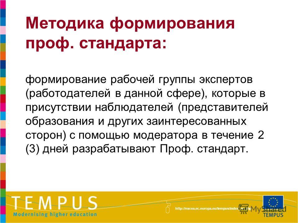 http://eacea.ec.europa.eu/tempus/index_en.php Методика формирования проф. стандарта: формирование рабочей группы экспертов (работодателей в данной сфере), которые в присутствии наблюдателей (представителей образования и других заинтересованных сторон