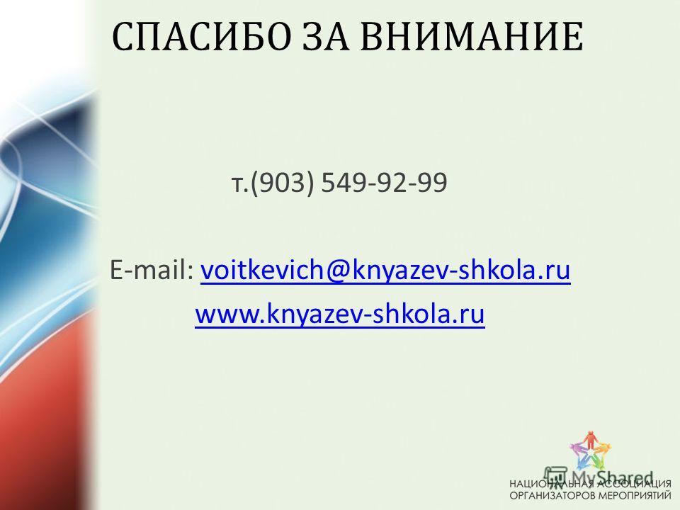 СПАСИБО ЗА ВНИМАНИЕ т.(903) 549-92-99 E-mail: voitkevich@knyazev-shkola.ruvoitkevich@knyazev-shkola.ru www.knyazev-shkola.ru
